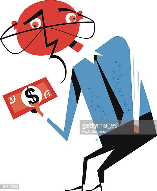 ilustrações de stock, clip art, desenhos animados e ícones de a shocked and sad business man holding a one dollar bill - buchinho