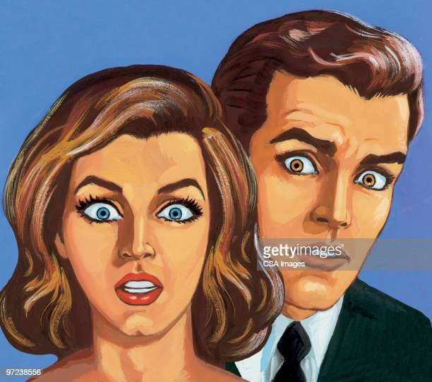 shocked couple - hypnosis stock illustrations