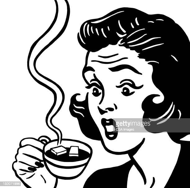 shocked woman with coffee cup - sugar cube stock illustrations, clip art, cartoons, & icons