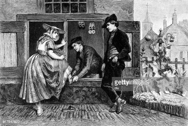 a shoemaker in holland repairs a woman's shoes - 1877 stock illustrations, clip art, cartoons, & icons