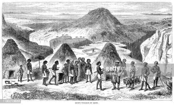 Shoho village engraving 1868