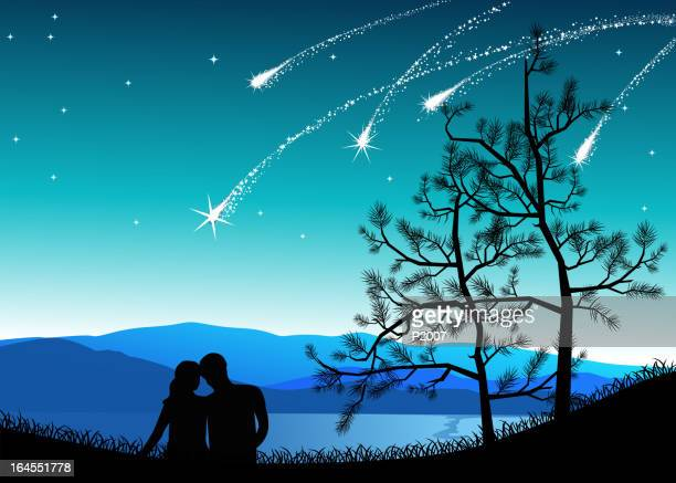 shooting star gazing - flirting stock illustrations, clip art, cartoons, & icons