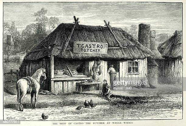 shop of castro the butcher - wagga wagga stock illustrations