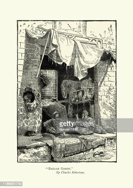 shopkeepers gossip in middle eastern bazaar, 1880s, 19th century - fete stock illustrations