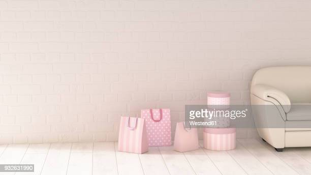 shopping bags beside couch, 3d rendering - consumerism stock illustrations