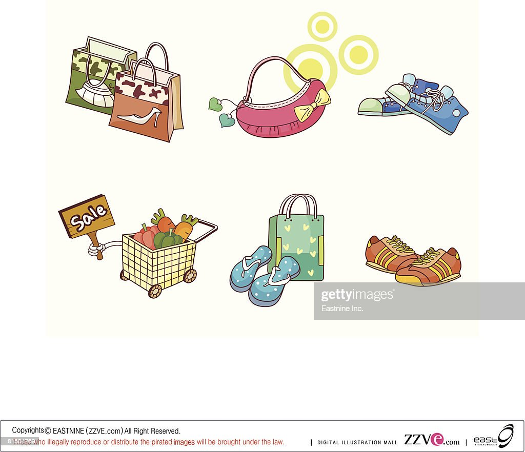 Shopping bags, purse, sport shoe and shopping cart displayed against white background : Ilustração de stock