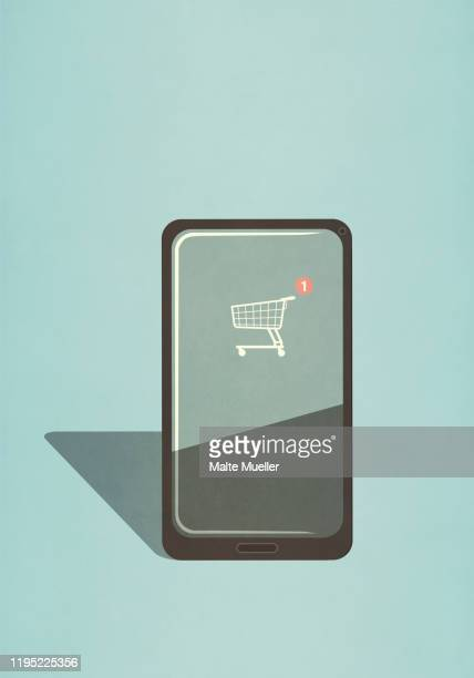 ilustraciones, imágenes clip art, dibujos animados e iconos de stock de shopping cart app on smart phone screen - shopping