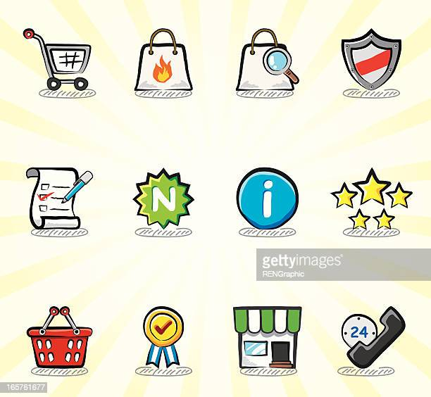 shopping icon set | color sketch series - information symbol stock illustrations, clip art, cartoons, & icons