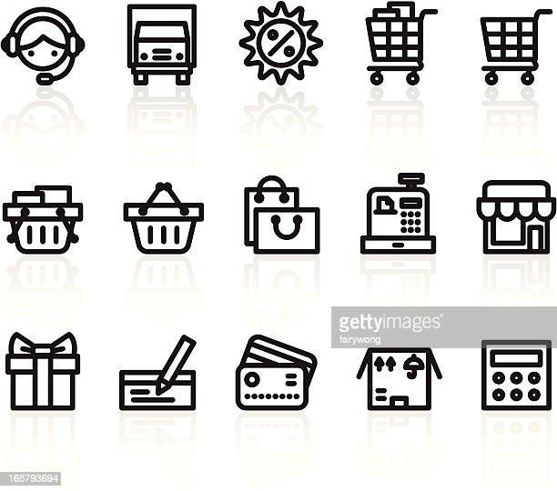 shopping icons - concepts & topics stock illustrations