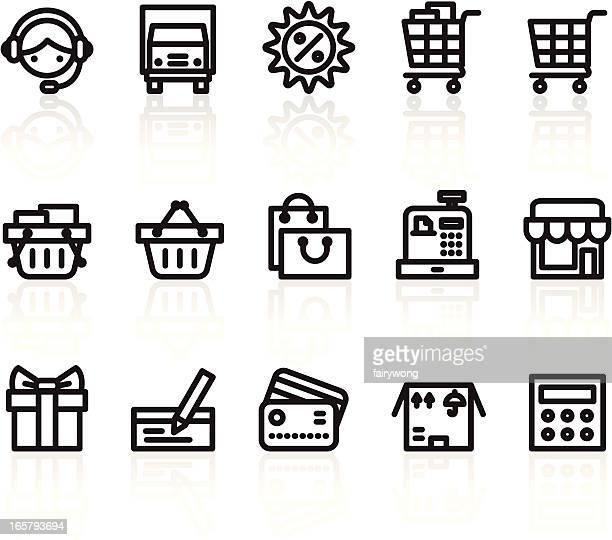 ilustrações, clipart, desenhos animados e ícones de ícones de compras - transporte assunto