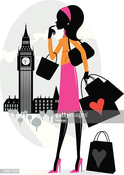 shopping in london - slim stock illustrations, clip art, cartoons, & icons