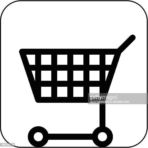 shopping symbol against white background - shopping cart stock illustrations