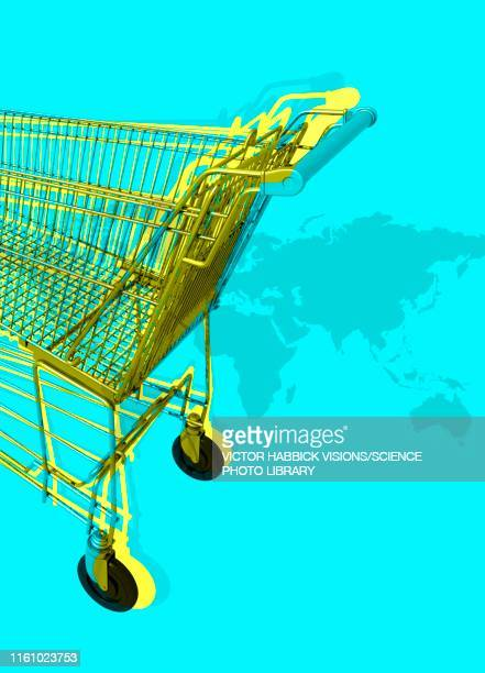 shopping trolley, illustration - consumerism stock illustrations