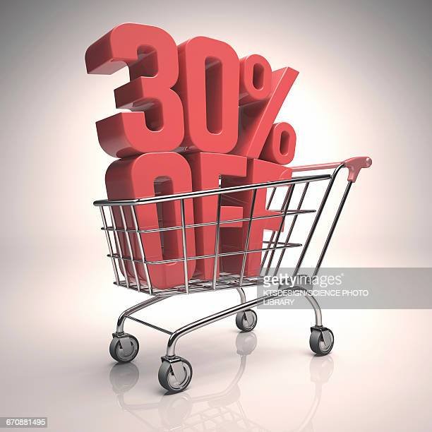 shopping trolley with sign, illustration - consumerism stock illustrations