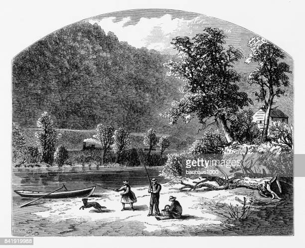 Shore of the Delaware River Water Gap, Pennsylvania, United States, American Victorian Engraving, 1872
