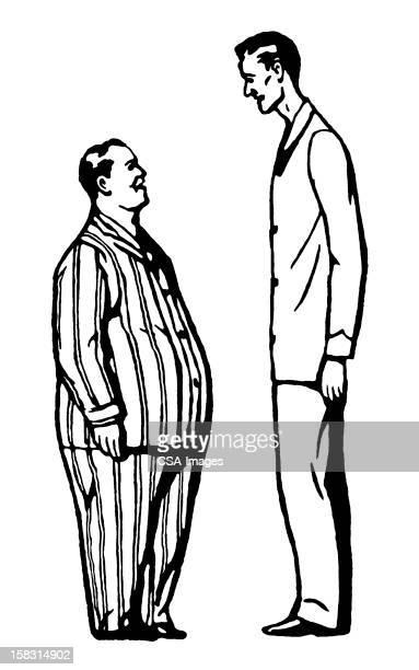 男性と背の高いショート薄い脂肪の男性