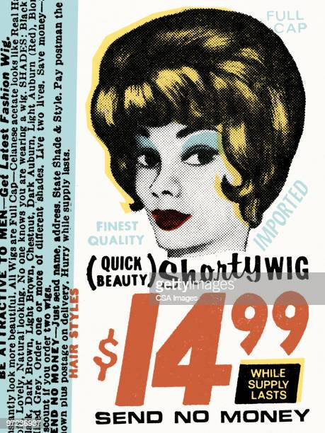 shorty wig - old fashioned stock illustrations