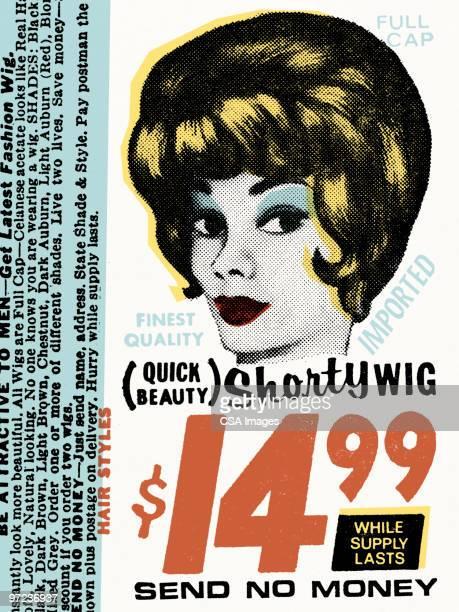 ilustrações, clipart, desenhos animados e ícones de shorty wig - artigo de vestuário para cabeça