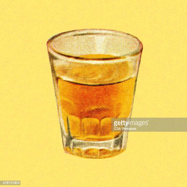 shot glass of liquor - scotch whiskey stock illustrations, clip art, cartoons, & icons