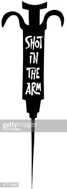 shot in the arm - heroin stock illustrations, clip art, cartoons, & icons