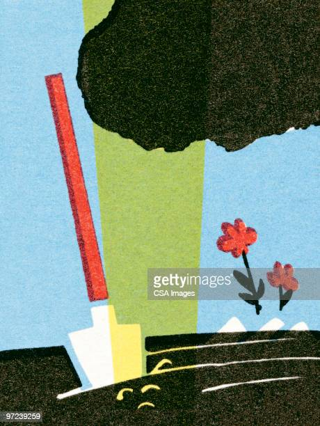 shovel in a garden - rain stock illustrations