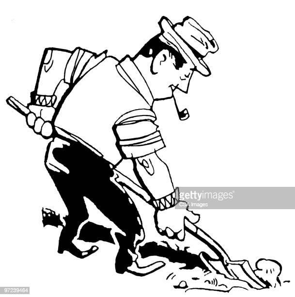 shoveling - 掘る点のイラスト素材/クリップアート素材/マンガ素材/アイコン素材