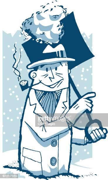 shoveling snow - winterdienst stock illustrations