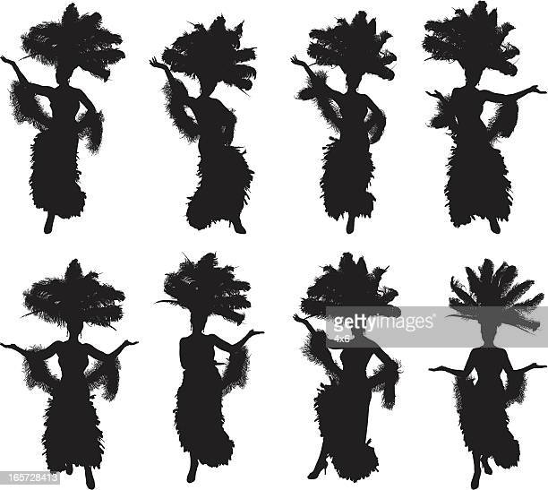 showgirls in different poses - headdress stock illustrations