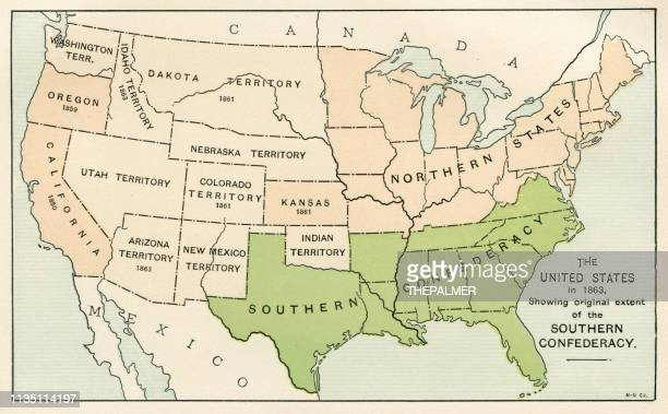 usa showing the southern confederacy map 1895 - american civil war stock illustrations