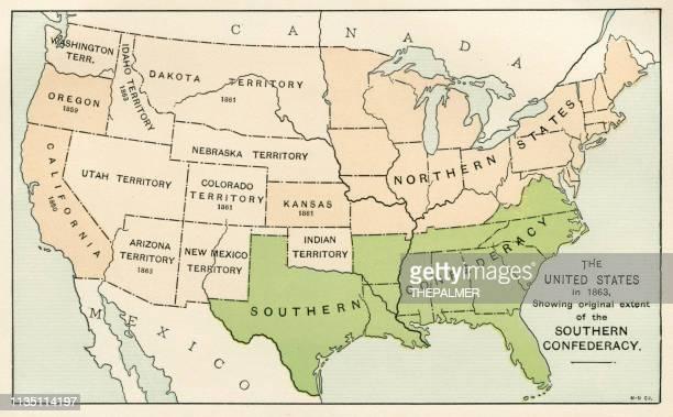 アメリカ南部南部連合地図を示す1895 - 内戦点のイラスト素材/クリップアート素材/マンガ素材/アイコン素材