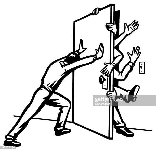 ilustraciones, imágenes clip art, dibujos animados e iconos de stock de shut the door - grupo mediano de personas