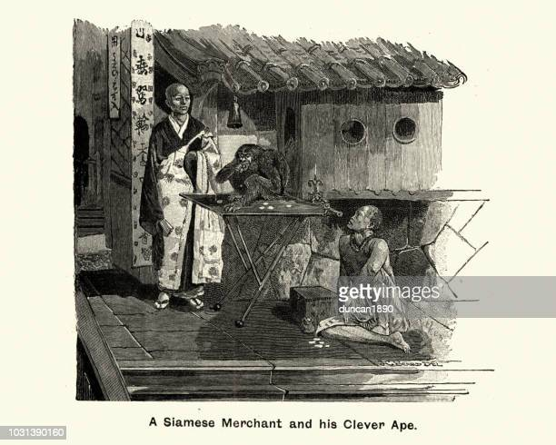 Siamese merchant and his performing ape, 19th Century