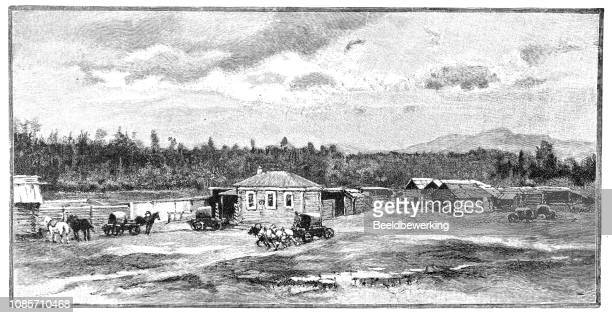 Siberian trading post  horse and horse and carriages in front of post station illustration 1895 'the Earth and her People'