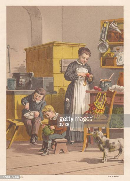 siblings and nanny preparing food, nostalgic scene from the past - carer stock illustrations, clip art, cartoons, & icons