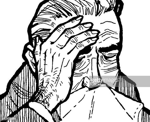 sick man blowing his nose - sneezing stock illustrations, clip art, cartoons, & icons