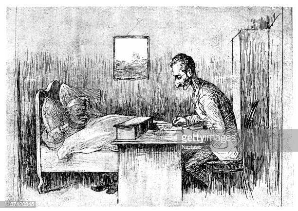 sick man in bed dictating testament - cartoon cancer stock illustrations
