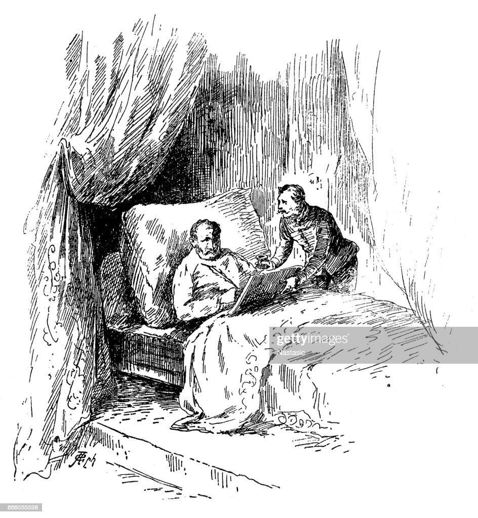 Sick man in bed writing testament : stock illustration