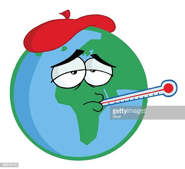 sick planet earth - instrument of measurement stock illustrations