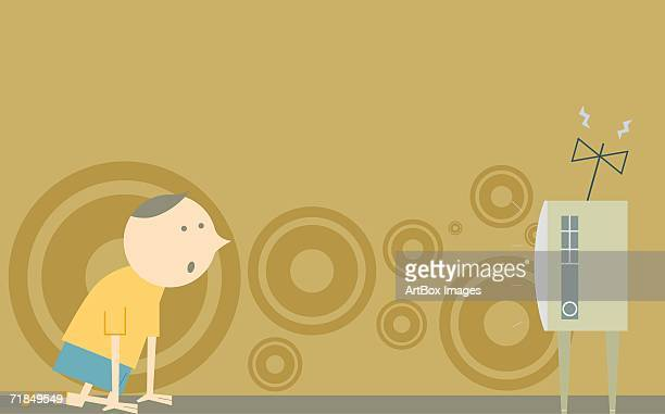 side profile of a boy watching television - television aerial stock illustrations, clip art, cartoons, & icons