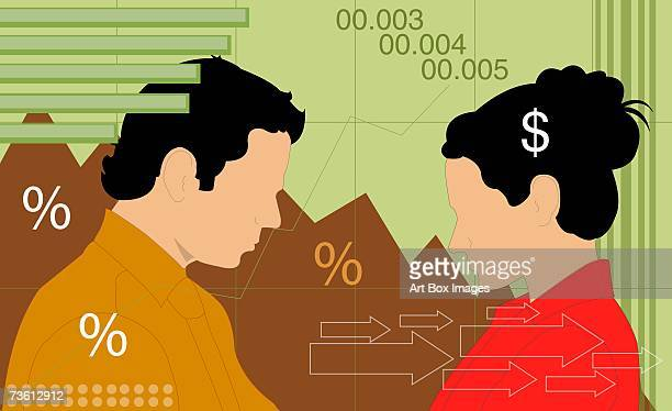 side profile of a businessman and a businesswoman - updo stock illustrations, clip art, cartoons, & icons