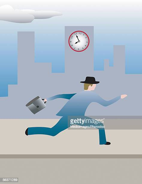 side profile of a businessman running on a sidewalk - standing on one leg stock illustrations, clip art, cartoons, & icons