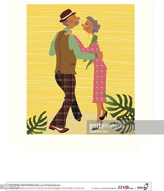 ilustraciones, imágenes clip art, dibujos animados e iconos de stock de side profile of a couple ballroom dancing - pareja bailando cuerpo entero
