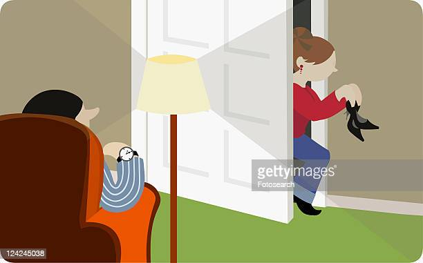 ilustraciones, imágenes clip art, dibujos animados e iconos de stock de side profile of a girl sneaking into her house with her father waiting for her - stealth