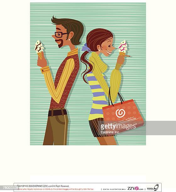 side profile of a man and a woman standing back to back and eating ice cream - eating ice cream stock illustrations, clip art, cartoons, & icons