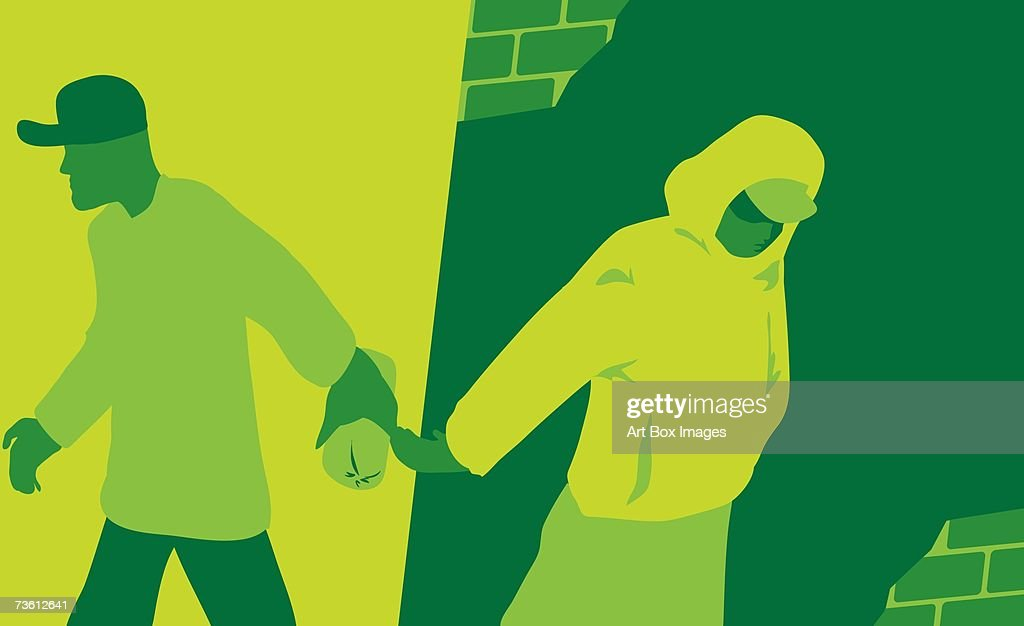 Side profile of a man giving a package to a woman : stock illustration