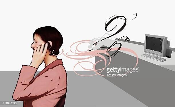 ilustraciones, imágenes clip art, dibujos animados e iconos de stock de side profile of a mid adult woman talking on a mobile phone - mujeres de mediana edad
