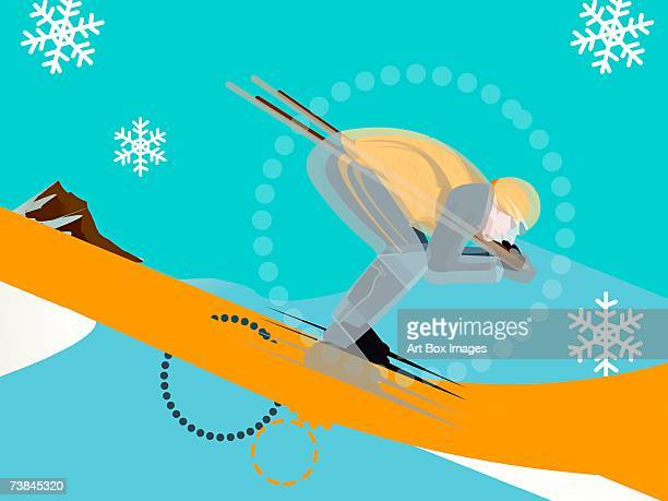side profile of a person skiing - ski goggles stock illustrations, clip art, cartoons, & icons