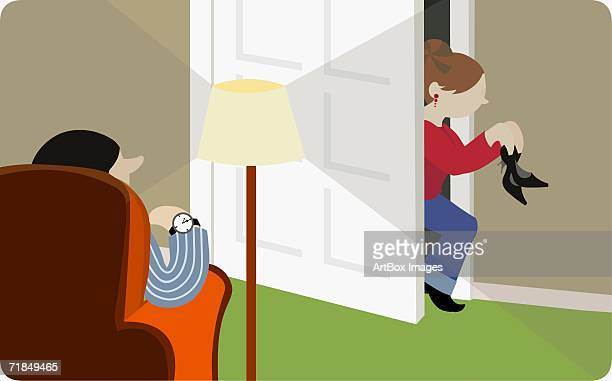 side profile of a teenage girl sneaking into her house with her father waiting for her - 45 49 years stock illustrations, clip art, cartoons, & icons