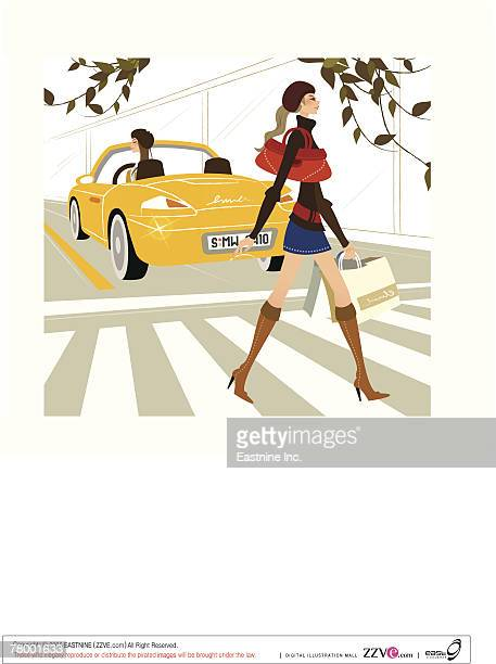 side profile of a woman crossing the road at a zebra crossing - zebra crossing stock illustrations