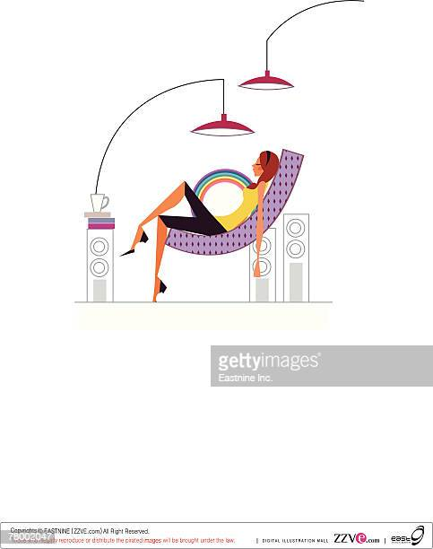 side profile of a woman lying on a chair - lying on back stock illustrations, clip art, cartoons, & icons